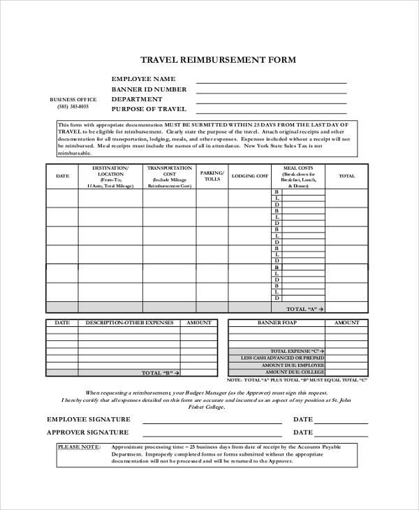 travel reimbursement form