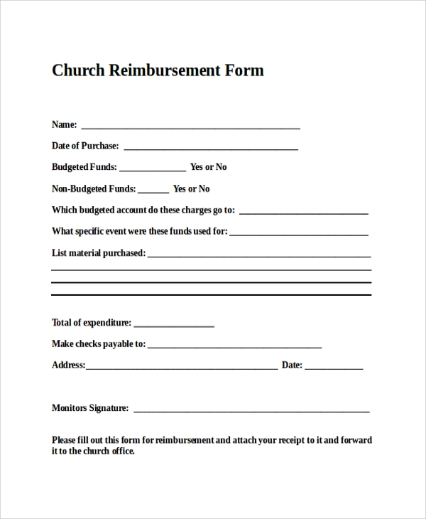 Format Of Church Reimbursement Form