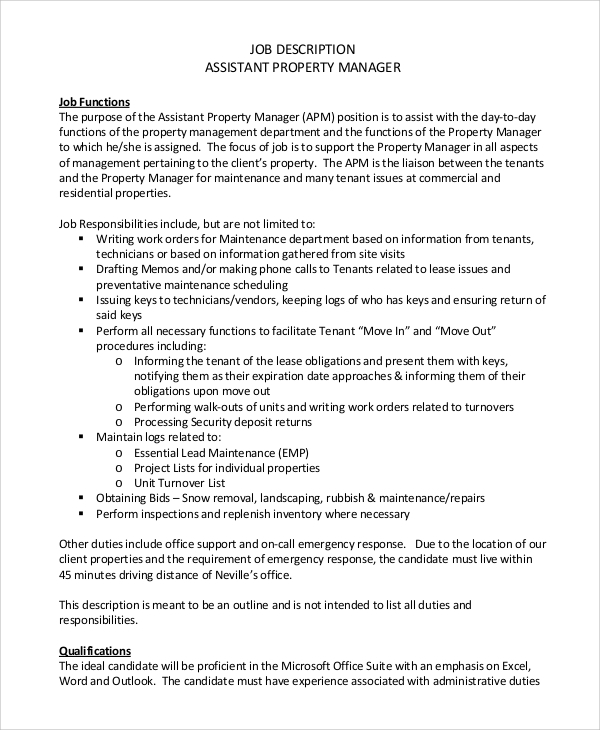 Sample Property Manager Job Description   Examples In Pdf Word