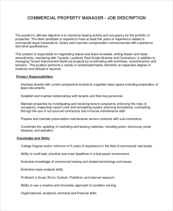 Sample Property Manager Job Description - 9+ Examples In Pdf, Word