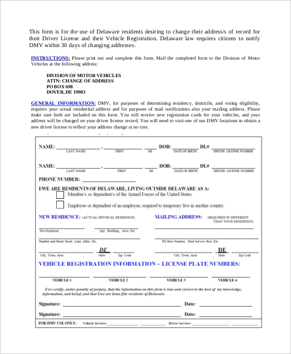 Dmv Change Of Address Form Sample   Examples In Pdf