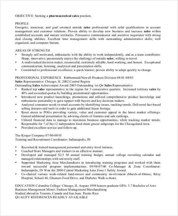 Sales Resume Example - 8+ Samples In Word, Pdf