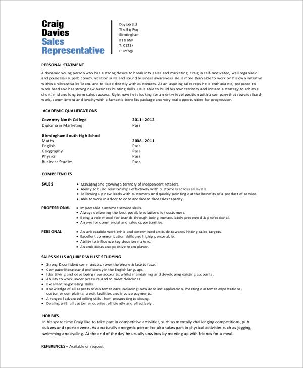 Sales Rep Resume Sample: 8+ Samples In Word, PDF