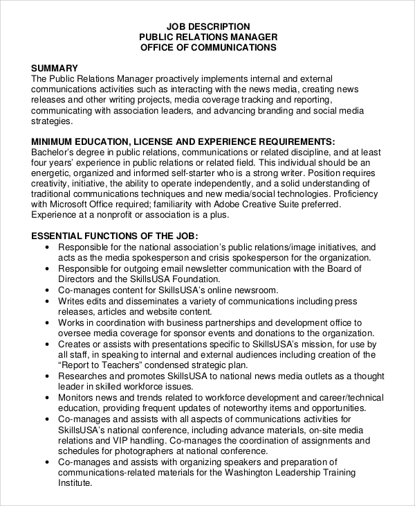 Sample Public Relations Job Description - 8+ Examples In Pdf, Word