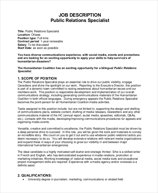 Sample Public Relations Job Description   Examples In Pdf Word
