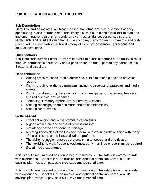public relation account executive job description