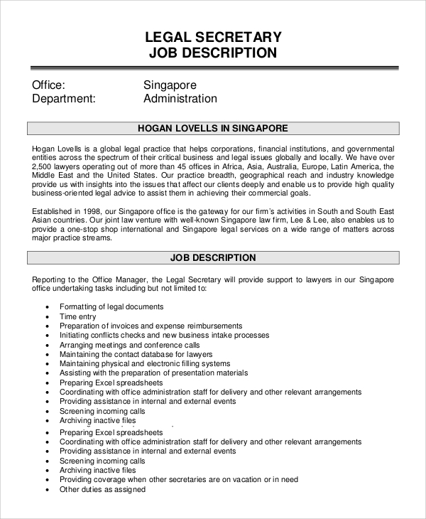 Sample Secretary Job Description - 8+ Examples In Pdf, Word