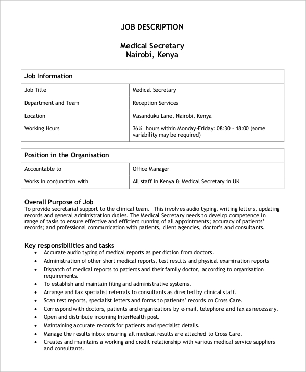 Sample Secretary Job Description   Examples In Pdf Word