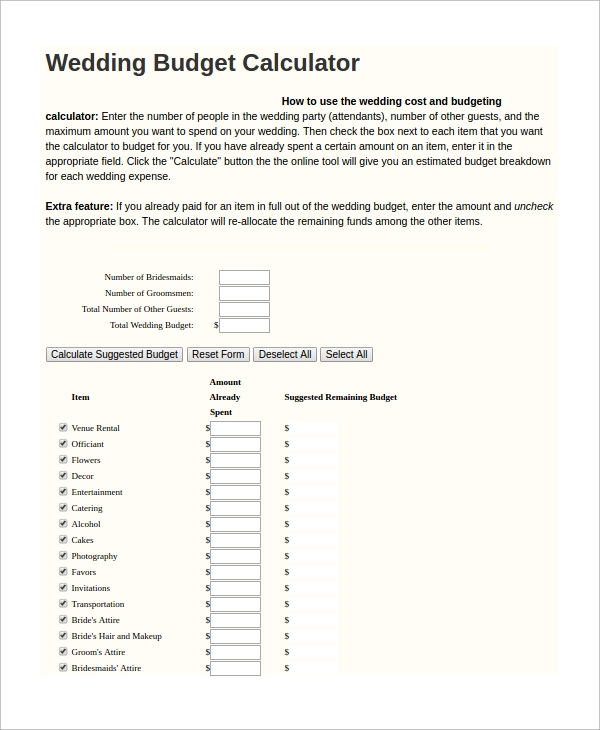 Sample Wedding Budget Calculator   Examples In Excel