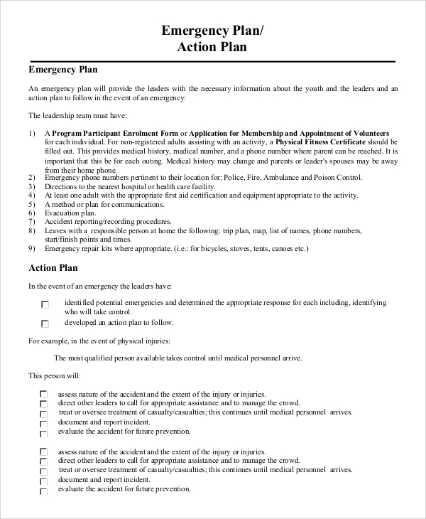 8 Sample Emergency Action Plans Sample Templates