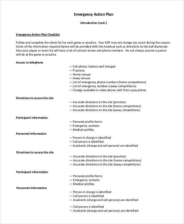 Sample Emergency Action Plan   Examples In Pdf Word