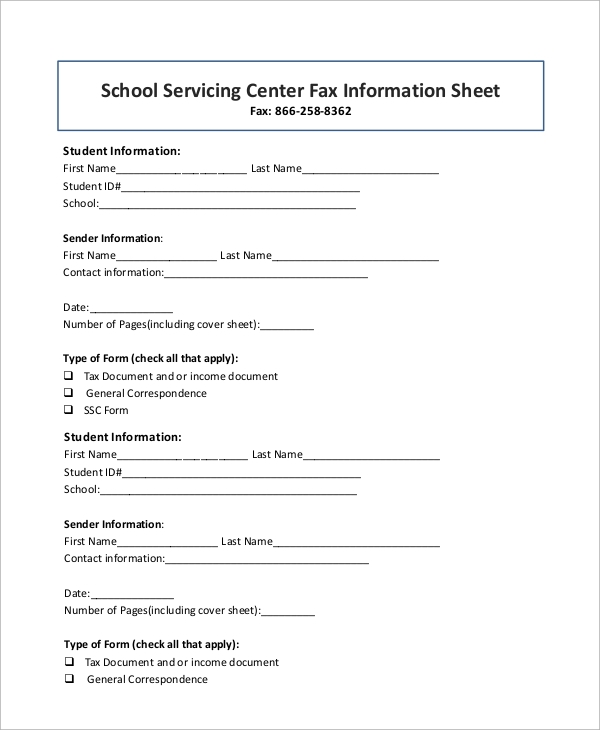fax information cover sheet