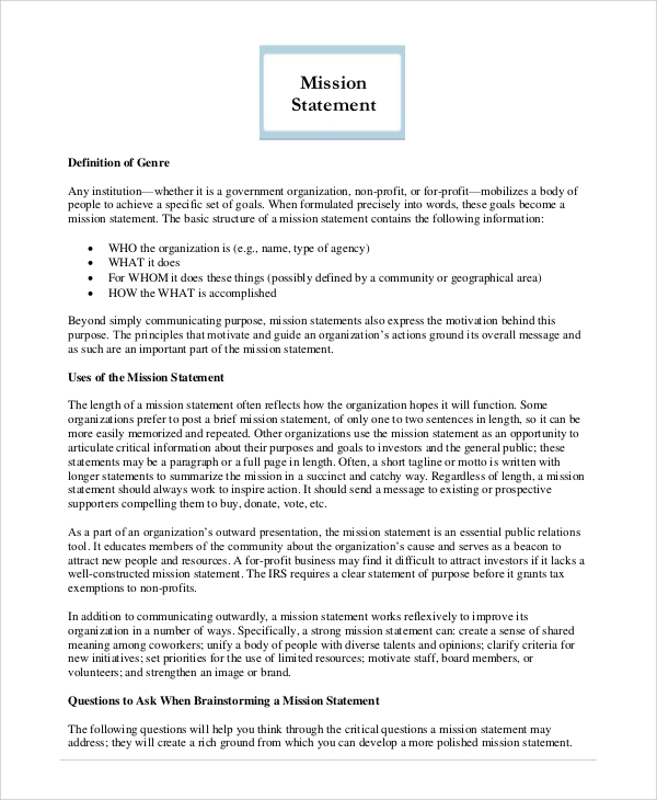 Sample Mission Statement   Examples In Pdf Word