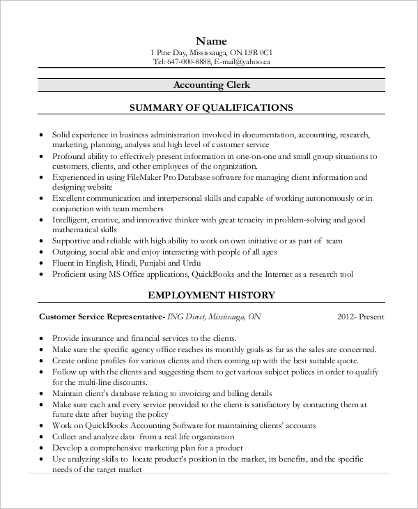 free 13  sample accounting resume templates in ms word