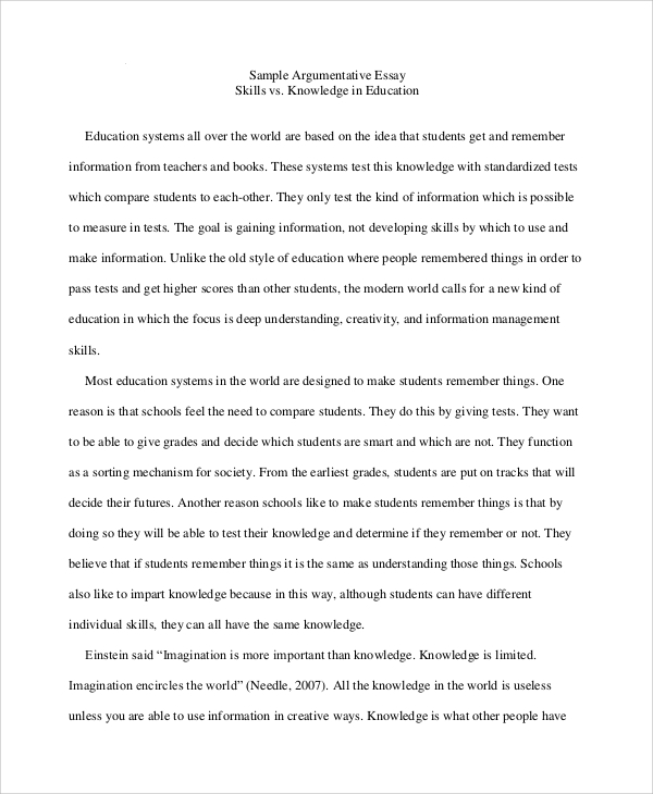 essay sample 8 examples in word pdf - Argumentative Essay Sample Examples