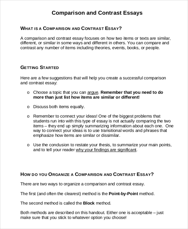 comparison contrast essay example Learning and tutoring center, summer 2011 page 1 of 2 comparison & contrast essay a comparison and contrast essay may be organized in one of two patterns: the block.