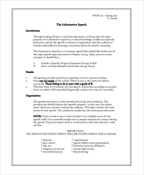 informative speech outline sample Informative speech examples you outline and draft your informative speech based on the topic examples of informative speeches in literature or popular culture.