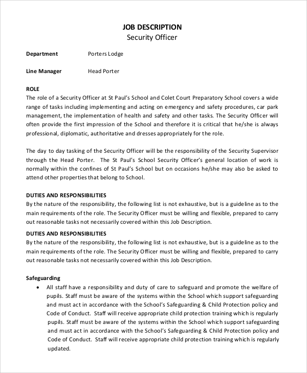 Sample Security Officer Job Description   Examples In Pdf Word