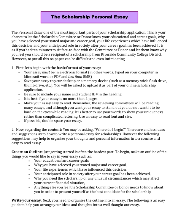 how to start a essay about scholarship Writing a scholarship essay can put a lot of pressure on you as a student rather than receiving a grade in class, you are writing to potentially receive money to help pay for your college education when starting down this path, it is important to keep your cool, write your essay well before the deadline, and follow these five suggestions for .