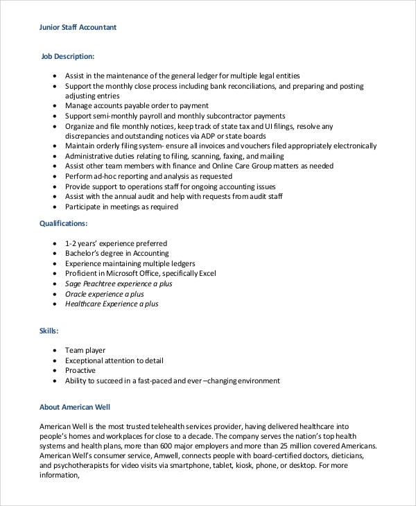 Sample Staff Accountant Job Description - 8+ Examples In Pdf, Word