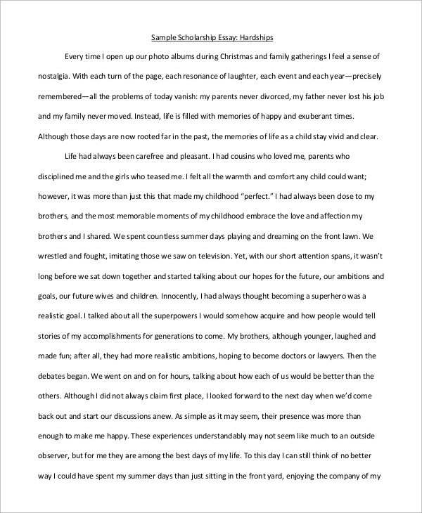 scholarship essay example for hardship - Example Essays For Scholarships