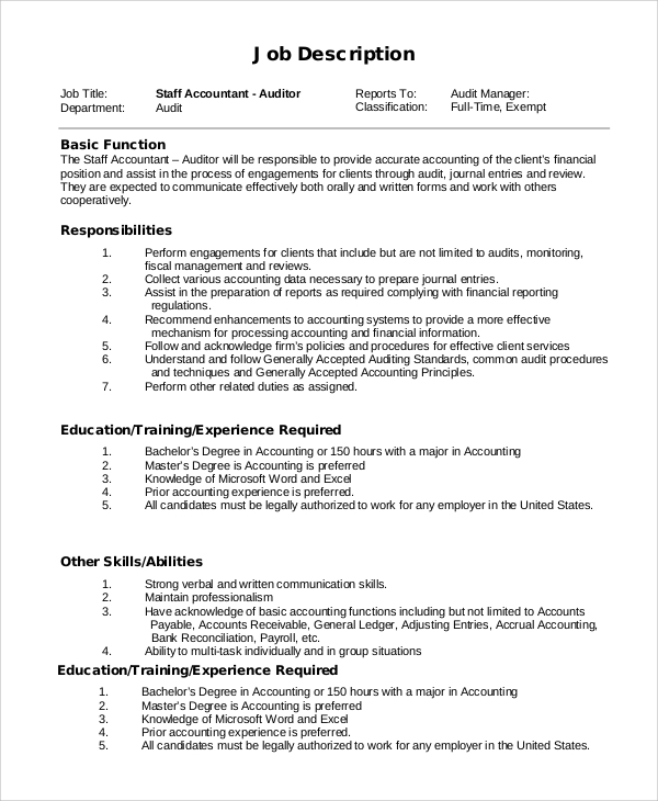 Sample Staff Accountant Job Description   Examples In Pdf Word