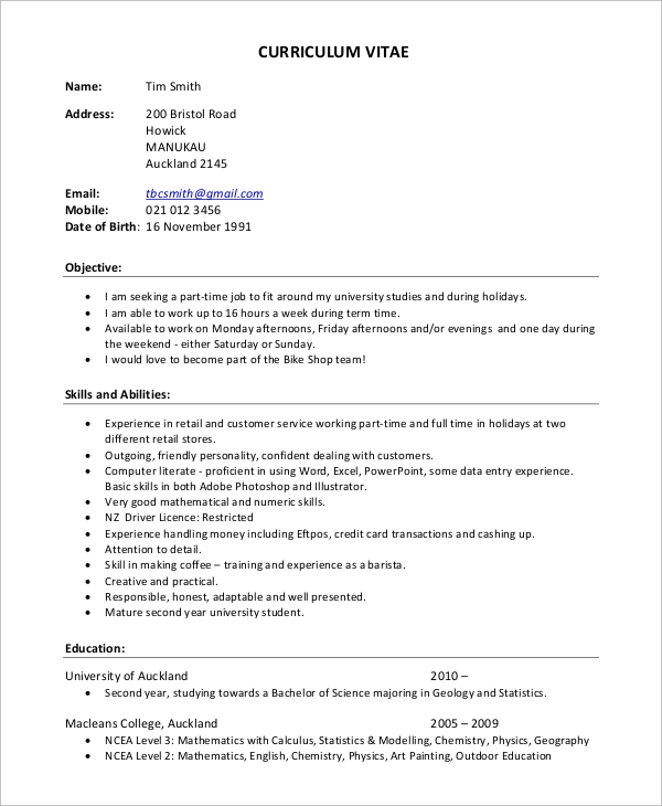 example of curriculum vitae for job