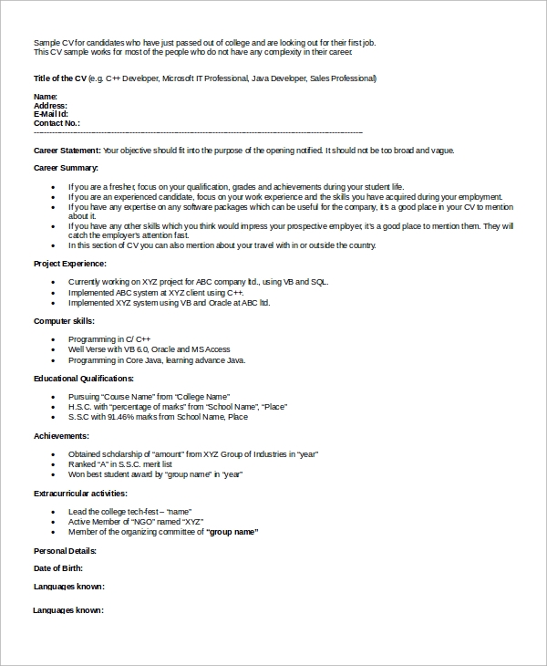 curriculum vitae example for fresher