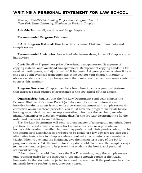 Sample Personal Statement - 8+ Examples In Word, Pdf