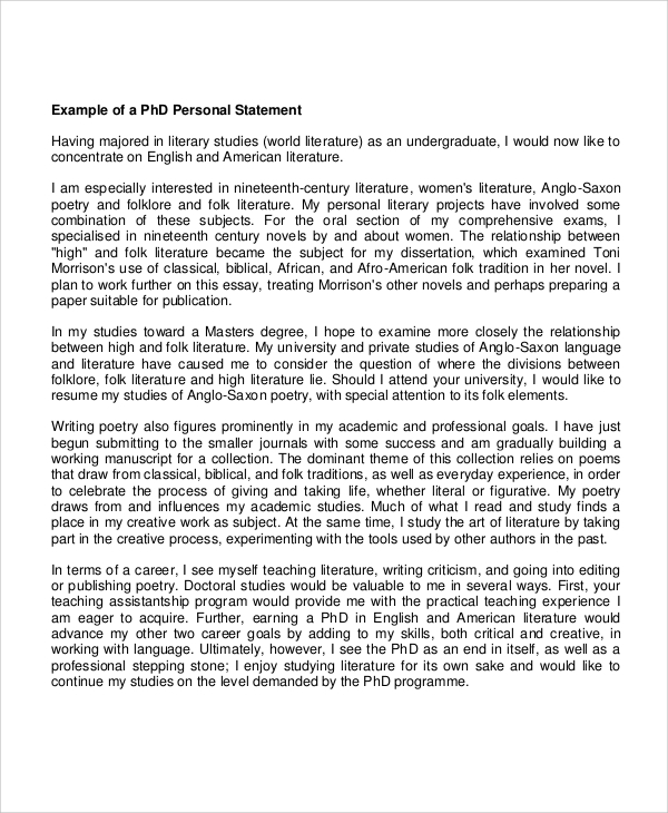 sample phd personal statement