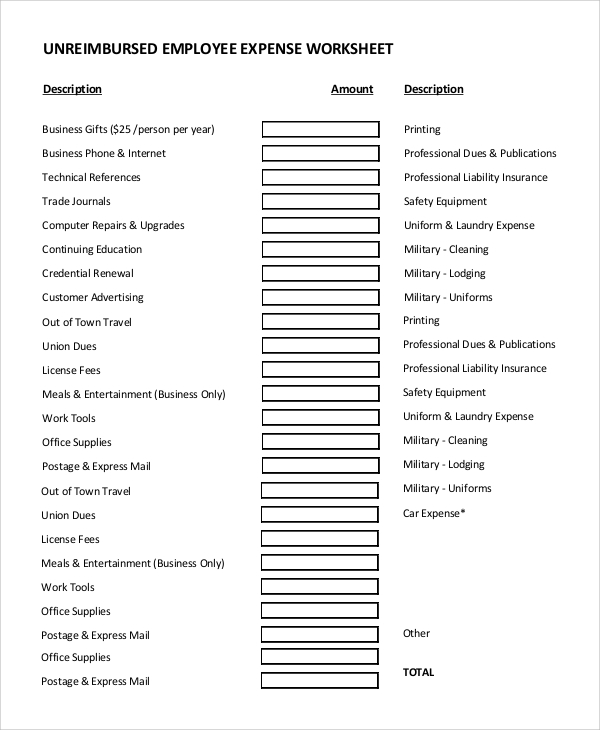 Sample Unreimbursed Employee Expense   Examples In Pdf