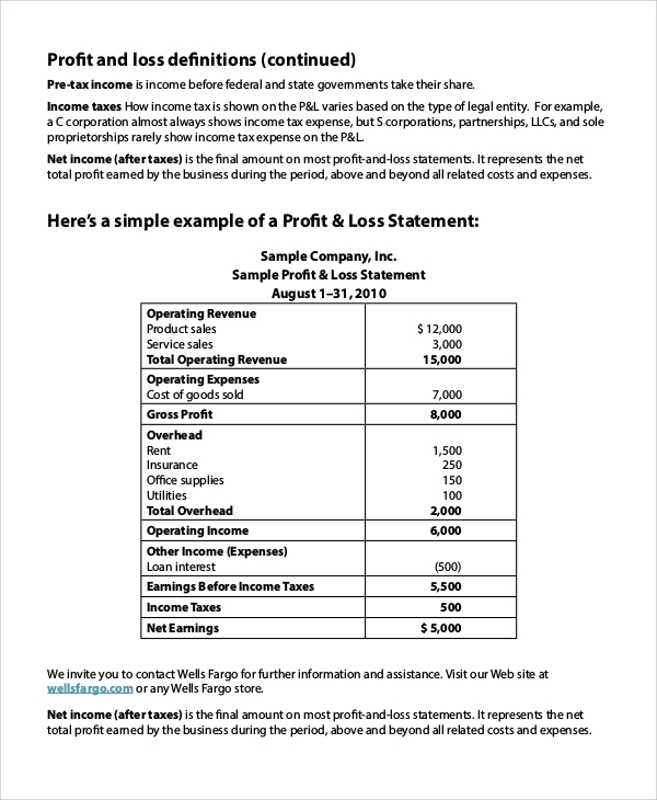 Loss Profit Statement Personal Profit And Loss Statement Sample