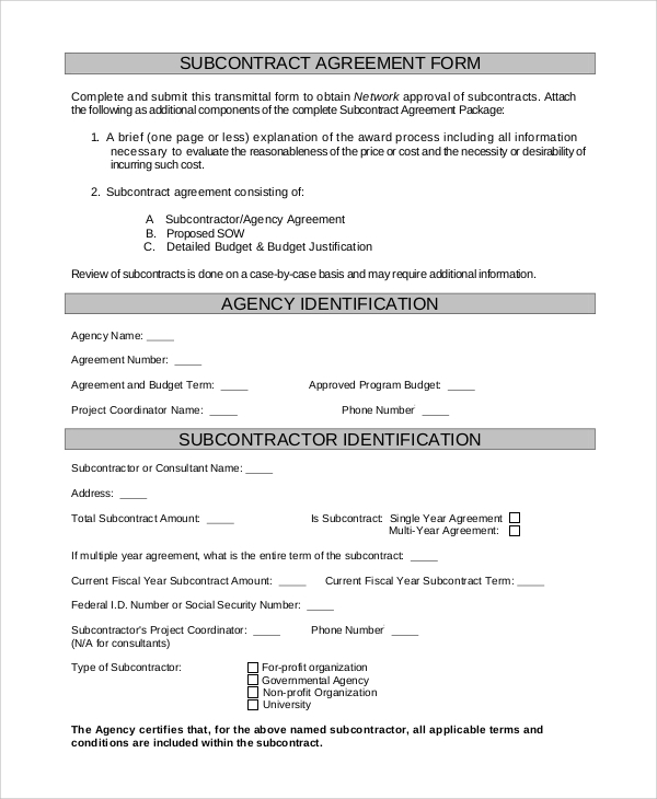 Sample Subcontractor Agreement   Examples In Pdf Word