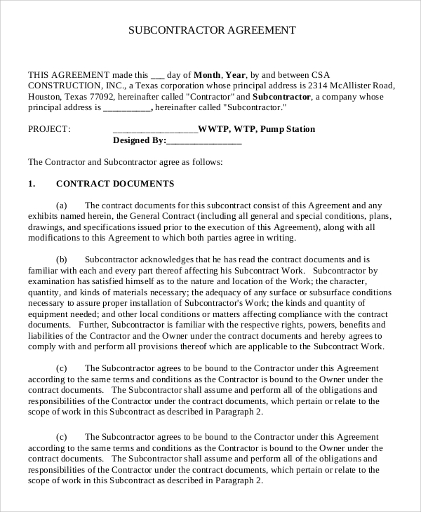 Sample Subcontractor Agreement - 9+ Examples in PDF, Word