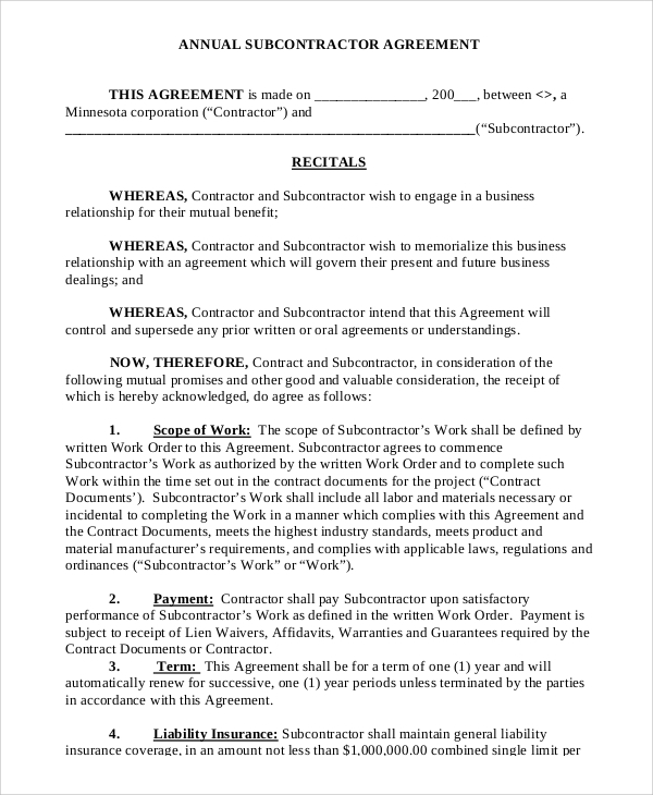 Sample Subcontractor Agreement 9 Examples in PDF Word – Subcontractor Agreements