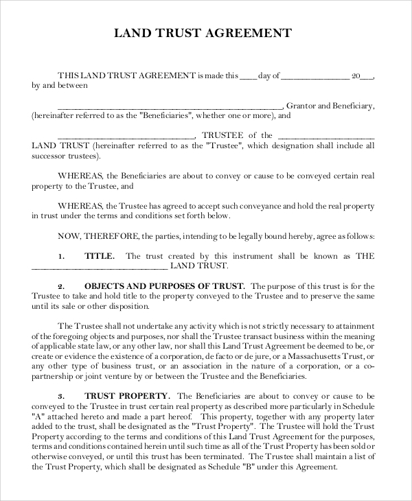 land trust agreement form