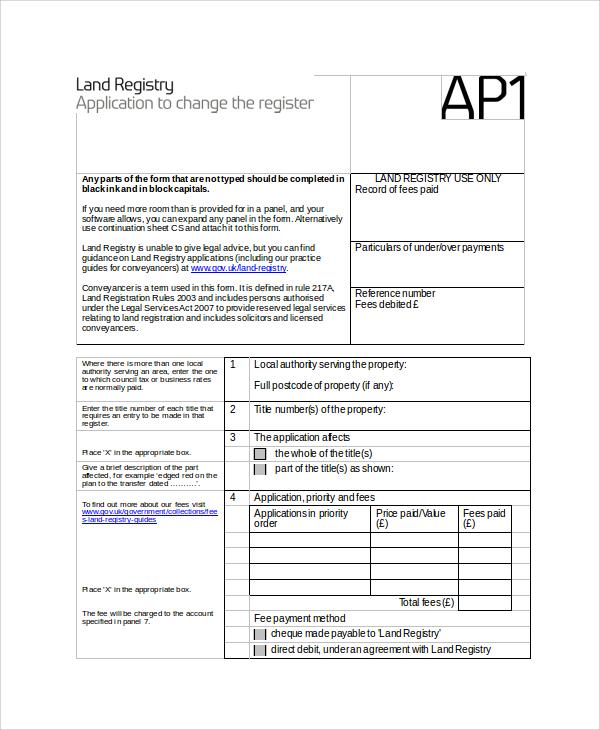 land registry form