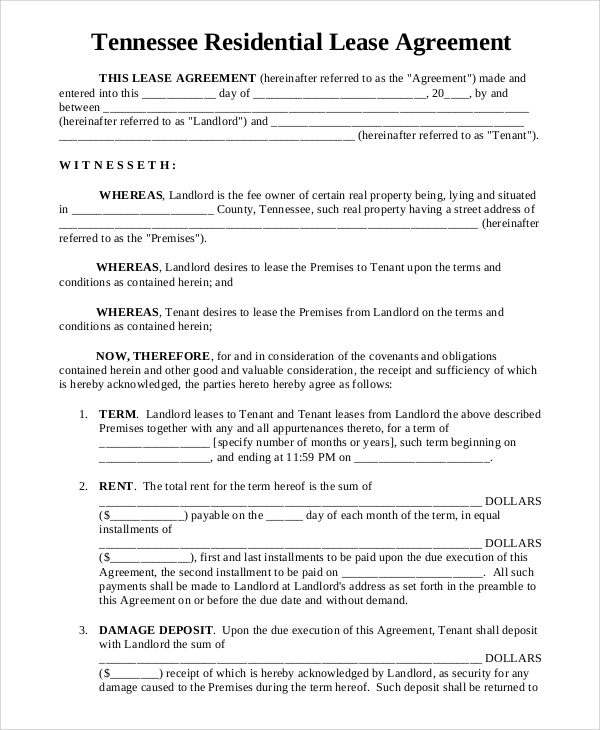 Sample residential lease 8 examples in word pdf tennessee residential lease agreement sample platinumwayz