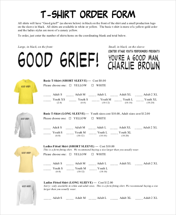 sample t shirt order form 11 examples in pdf word