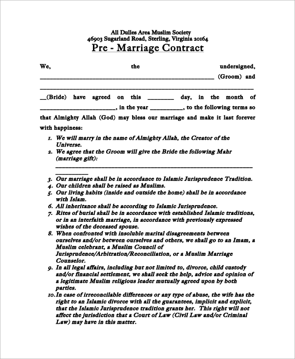 Marriage Contract Template Premarriagecontract Sample Marriage
