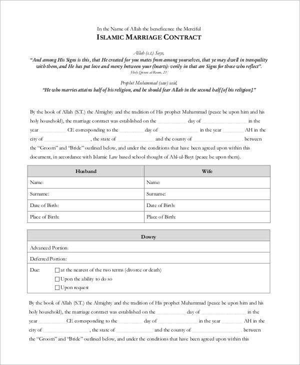 13 marriage contract samples sample templates marriage contract form thecheapjerseys Gallery
