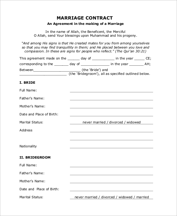 Marriage Contract Template Images - Reverse Search