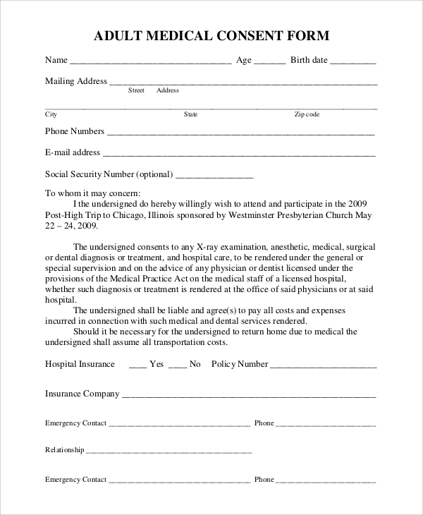 Medical Release Form Adults Sample Medical Consent Form   9 Examples In  PDF, Word