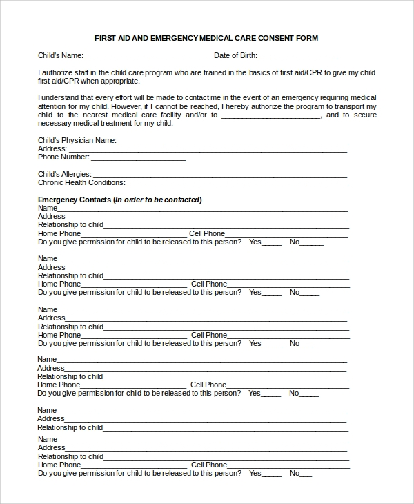 first aid emergency medical care consent form