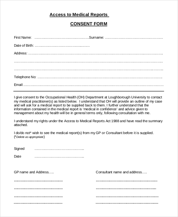 Psychology Consent Form Medicalreportconsentform Sample Medical