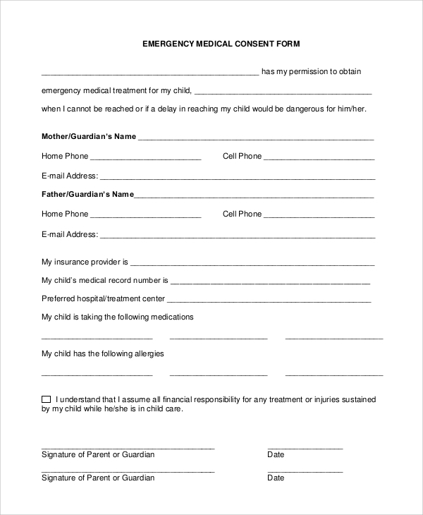 9 sample medical consent forms sample templates for Free child travel consent form template