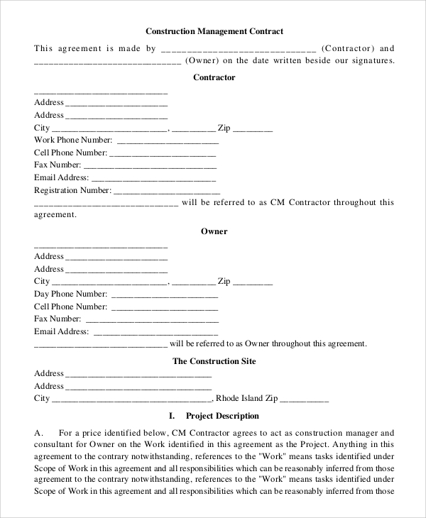 Construction Management Contract Sample  Construction Contract Template