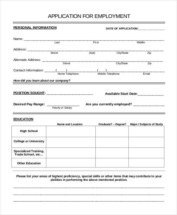 Application Form Example Job Application Forms Examples Nurse