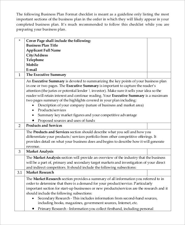 business plan format checklist
