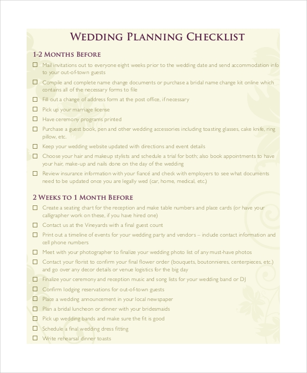 Printable Wedding Checklist Sample   Examples In Pdf Word
